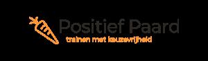 Logo: positief paard - trainen met keuzevrijheid, positieve bekrachtiging, clickertraining, positive reinforcement, grondwerk