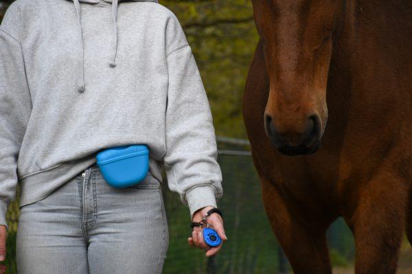 Artikel: Blauw beloningstasje. Handig klein beloningstasje met magneetsluiting.+R training, trainen met voer, clickertraining met paard